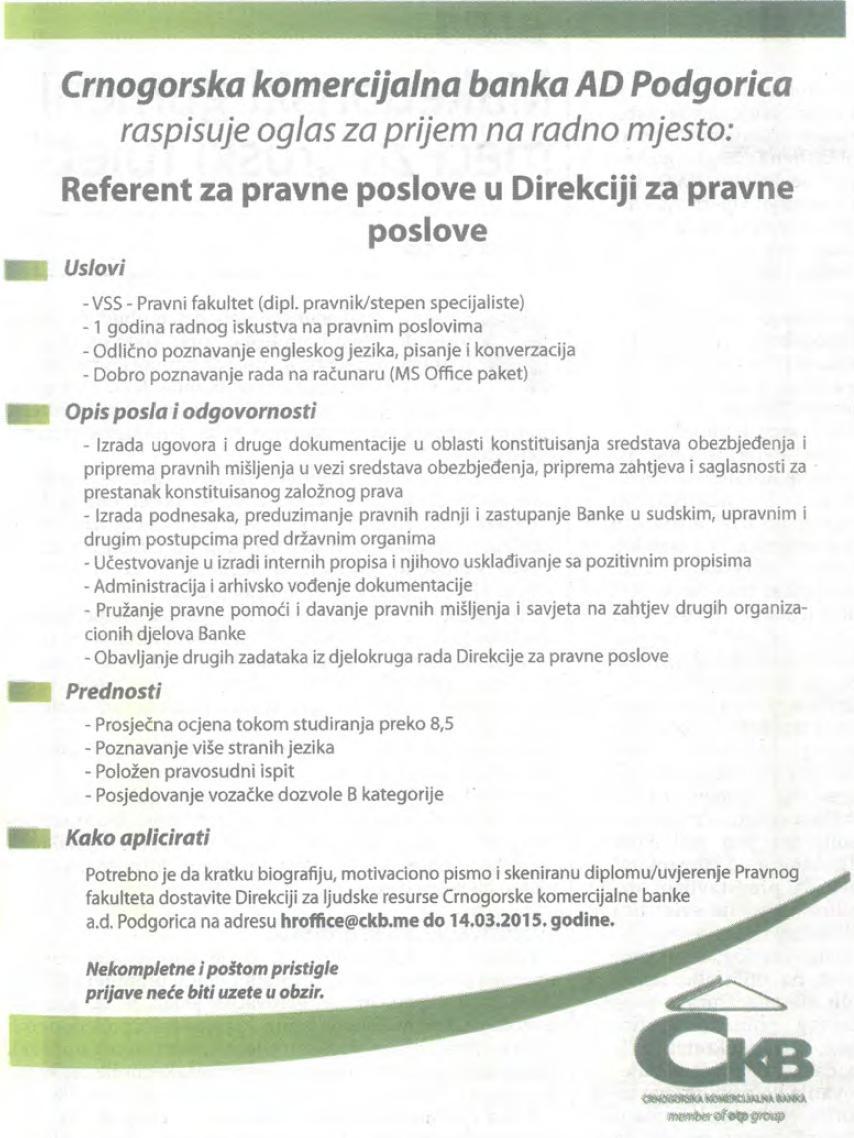 CKB oglas Referent pravna sluzba