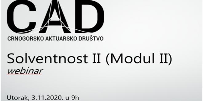 Crnogorsko aktuarsko društvo (CAD) organizuje drugi modul seminara na temu Solventnost